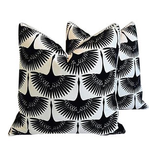 """Custom Tailored Abstract Birds Velvet Feather Down Pillows 24"""" Square - a Pair"""