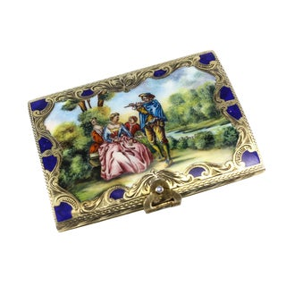 Coppini & Co. Italian .800 Silver & Hand Painted Enamel Hinged Box
