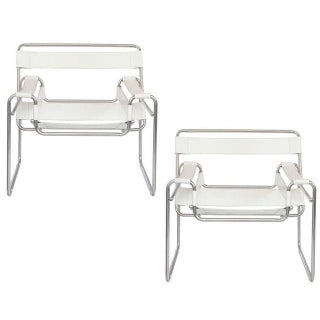 Marcel Breuer Leather & Chrome Wassily Chairs - A Pair