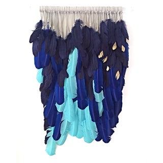 """Ocean Blues on Lucite"" Feather Wall Hanging"