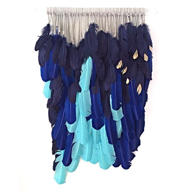 """Image of """"Ocean Blues on Lucite"""" Feather Wall Hanging"""