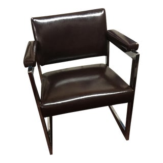 Chrome & Brown Vinyl Chair