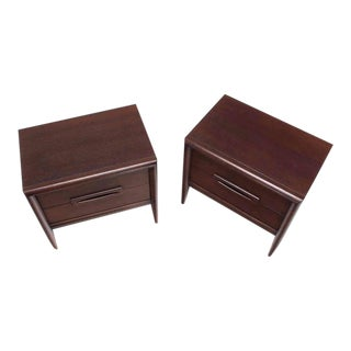 Pair of Walnut Mid-Century Nightstands