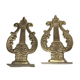 1970s Vintage Musical Brass Book Ends - a Pair