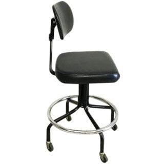 Mid-Century Black Vinyl Industrial Chair
