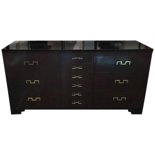 Dark Stain Burlwood Cabinet with Original Brass Key Hardware