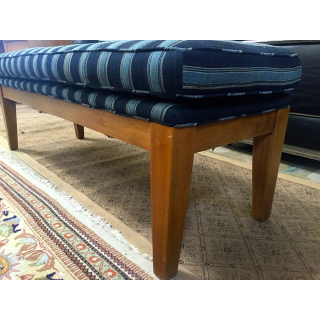 Image of Wood Bench with African Fabric