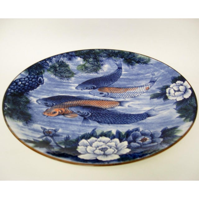 Japanese porcelain platter with koi fish chairish for Where to buy koi fish near me