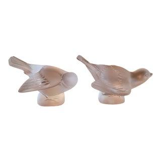 Lalique Crystal Sparrows - A Pair