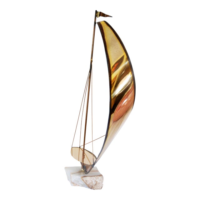 Vintage Metal and Onyx Sailboat Tabletop Sculpture - Image 1 of 5