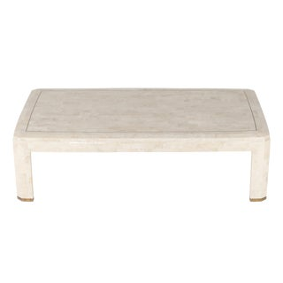 MAITLAND SMITH TESSELLATED CORAL STONE AND BRASS COFFEE TABLE, CIRCA 1980S