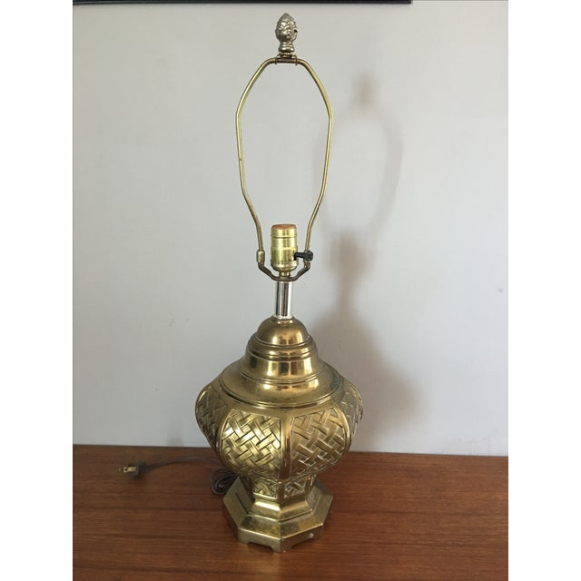 Mid Century Asian Basketweave Brass Table Lamp Chairish