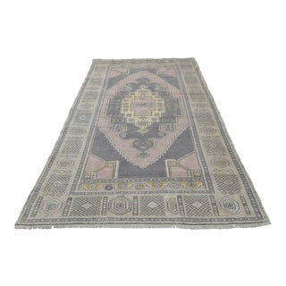 Turkish Distressed Area Rug Hand Knotted Wool Oushak Rug - 4'9'' x 8'6''