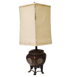 Bronze & Porcelain Octagonal Lamp