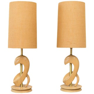 Sculptural Oak Table Lamps Attributed to Jascha Heifetz - A Pair