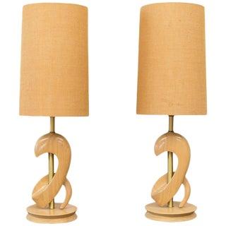 Sculptural Oak Table Lamps Attributed to Jascha Heifetz - A Pair