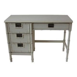 Mid-Century 4-Drawer Bamboo Style Desk