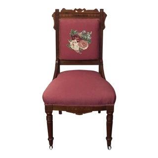 Victorian Eastlake Floral Side Chair