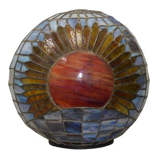 Monumental Early 20th C Leaded Glass Sunflower Globe c.1910