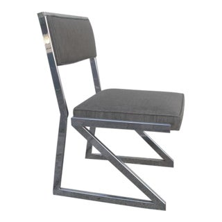 Vintage Chrome Cantilevered Z Accent Chair