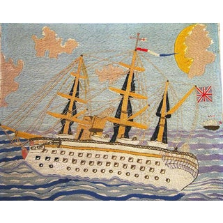 Folk Art Sailor's Large Woolwork Woolie of the Royal Navy Ship H.M.S. Crocodile