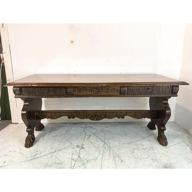 1920's Carved Walnut Library Table / Desk - Image 2 of 7