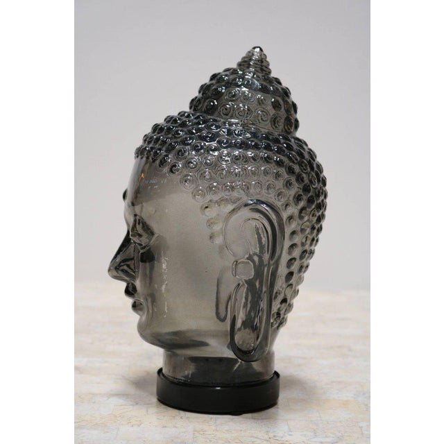 Image of Smoked Glass Buddha Head Sculpture