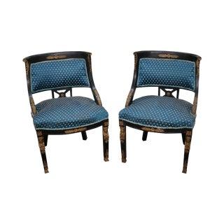 French Empire Black & Brass Ormolu Chair - A Pair