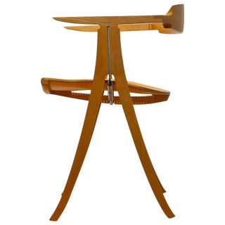 Paul Tuttle Side Chair in Maple, Walnut, Cane and Chromed Steel
