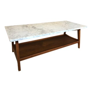"""West Elm """"Reeve"""" Mid-Century Rectangular White Marble Top Coffee Table"""