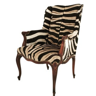 Vintage English Zebra Wingback Chair