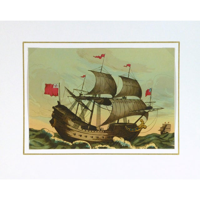 Image of European Sail Boat Woodcut