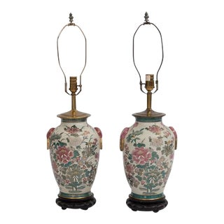 Chinoiserie Hand Painted Ginger Jar Lamps - A Pair