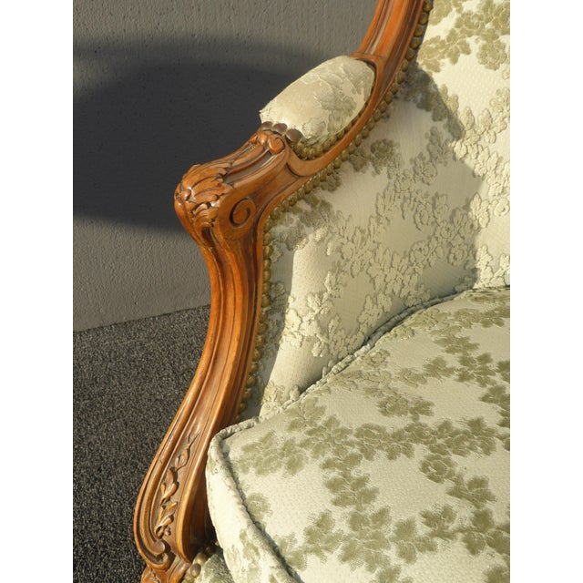 Antique Carved French Louis XV Style Barrel Back Bergere Chair - Image 9 of 11