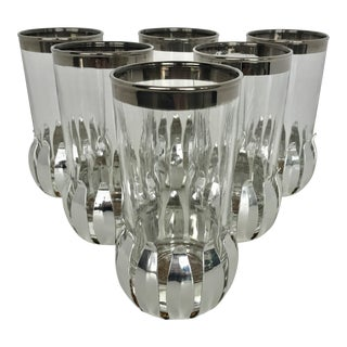 Dorothy Thorpe Style Glass Set With Metal Coasters
