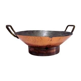 Large Hammered Copper Wok