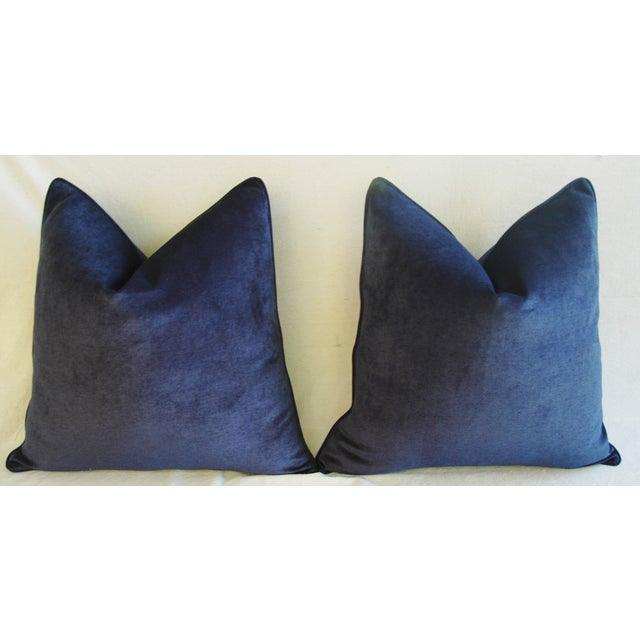 Large Designer Midnight Blue Velvet Feather/Down Pillows - Pair - Image 5 of 10