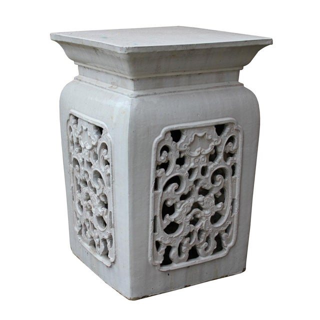 Chinese Off White Ceramic Square Dragon Garden Stool - Image 4 of 7