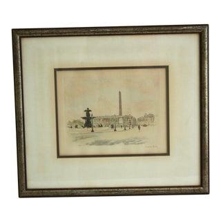 Circa 1900 Place De La Concorde Etching