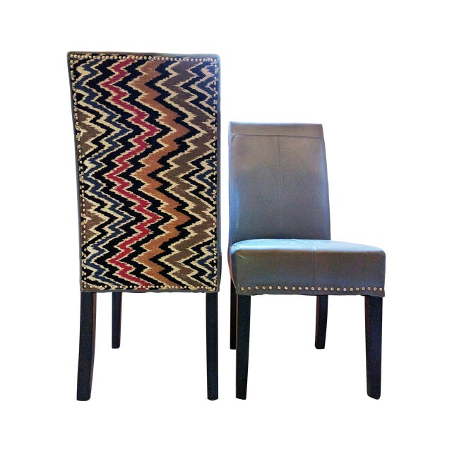 Flamestitch Upholstered Gray Leather Chairs - Pair - Image 1 of 4