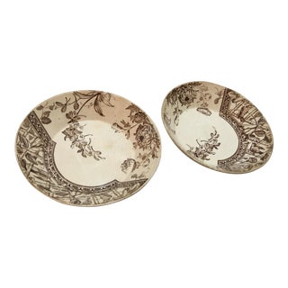 Porcelain Floral & Bird Dishes - A Pair