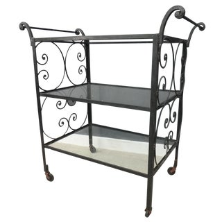 Vintage Wrought Iron and Glass Bar Cart