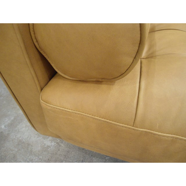 Tan Leather Sectional Sofa, Right Chaise, Tufted Seating - Image 7 of 8