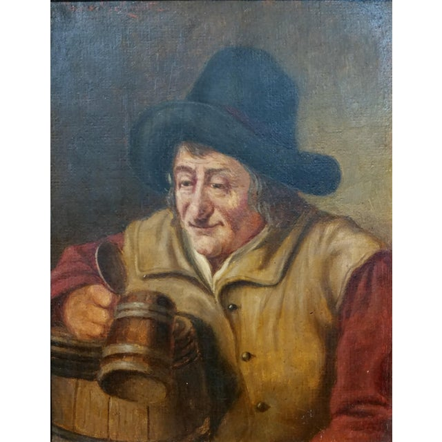 19th Century Dutch Stein Drinker Oil Painting - Image 3 of 8