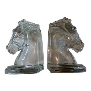 Antique Stallion Horse Bookends - A Pair