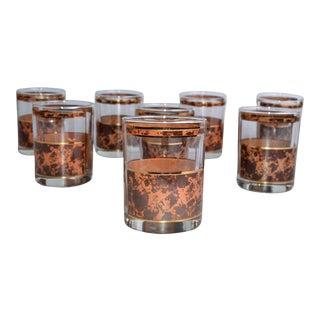 Mid-Century Modern Gold Leaf Whiskey Glasses - Set of 8