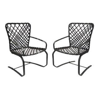 Brown Jordan Tamiami Aluminum Vinyl Strap Patio Pool Flex Spring Chairs - a Pair