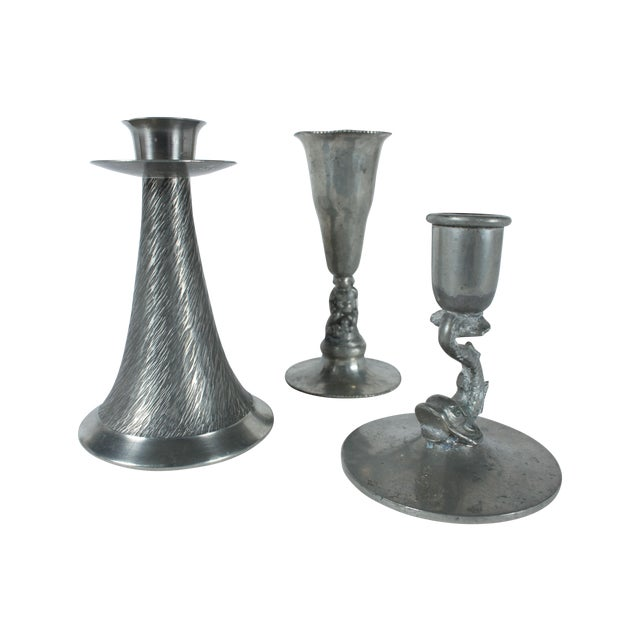 Image of Pewter Candleholders - Set of 3