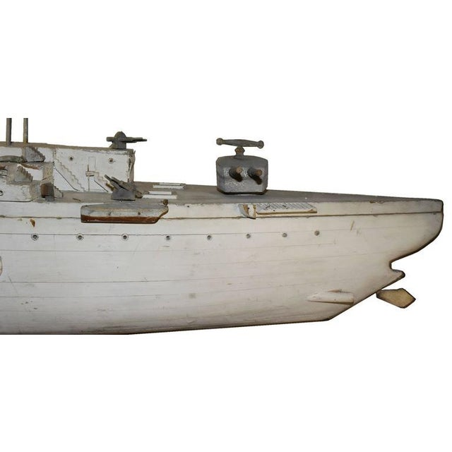 Image of Huge Antique Iron Side Battleship Model, circa 1910
