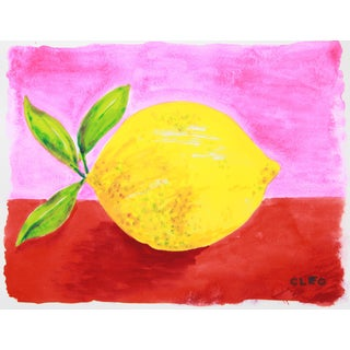 Lemon Abstract Still Life Painting by Cleo